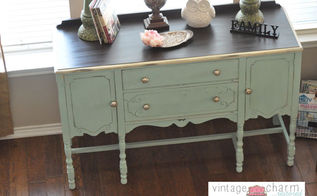 my painted buffet, home decor, painted furniture, A custom mix of American Paint Company s Paint to create this pale aqua minty goodness General Finishes Java Gel Stain Top