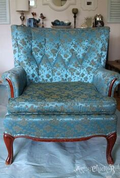 thrifty french chair makeover with annie sloan chalk paint, chalk paint, painted furniture, reupholster, 25 chair before