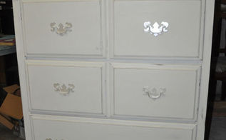 painted white bedroom furniture, painted furniture, American Paint Company Navajo White Modern Masters Oyster on the handles