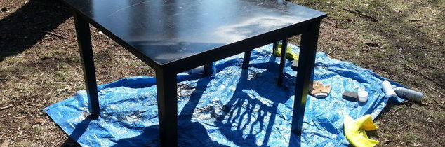 any ideas how to refinish or coverup this table top, painted furniture