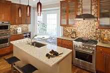 a 1980s chevy chase md home featured an outdated and compartmentalized floor plan, dining room ideas, home decor, home improvement, kitchen backsplash, kitchen design, Open plan kitchen replaces once cramped and closed off space