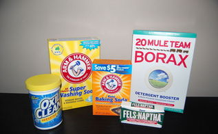homemade cleaning products, cleaning tips, LAUNDRY DETERGENT INGREDIENTS1 4 lb 12 oz Box of Borax1 3 lb 7 oz Box of Arm Hammer Super Washing Soda 1 3 lb Container of OxiClean2 5 5 oz Bars of Fels Naphta1 5 lb Bag of Arm Hammer Baking Soda