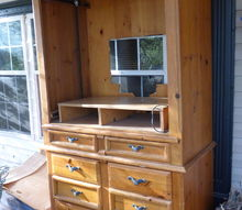 q any ideas on re 8purposing this large tv entertainment unit, painted furniture, repurposing upcycling, Large tv unit 24 in deep 45 in wide 80 in tall Sticks out from wall too far and takes up too much space Height and width not a problem