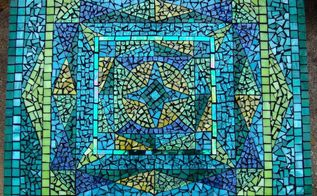 i have been creating mosaics on and off for a few years i recently relocated to, painted furniture, tiling, Finished table top