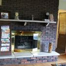 new look for an old fireplace, concrete masonry, diy, fireplaces mantels, painting, woodworking projects, tired outdated fireplace BEFORE