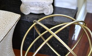 diy gold decorative sphere made from hula hoops, crafts, home decor, painting, repurposing upcycling