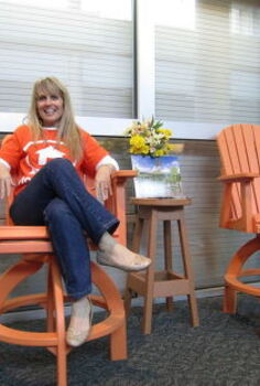2012 collection from berlin gardens check out these cool adirondack chairs that are, painted furniture, Pam Farrar from T M developments checking out the chair