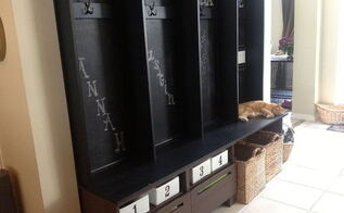 instant mudroom when there isn t a dedicated room, cleaning tips, closet, diy, foyer, how to, shelving ideas, Chalkboard Mud Room Bench