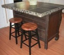 buffet turned island, kitchen design, kitchen island, painted furniture, repurposing upcycling