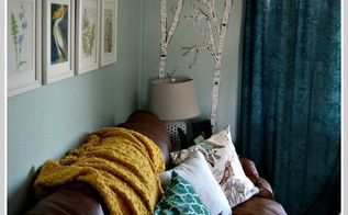 a birch tree mural on a gloomy day, home decor, living room ideas, paint colors, painting, wall decor