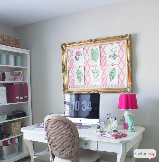 Pink Green Girly  Organized Ultimate Home Office Craft Room