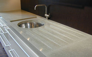 verdicrete countertop with built in drain grooves, countertops