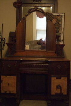 before after vintage vanity, chalk paint, painted furniture