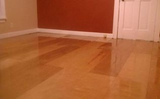 when you can t do real hardwood, diy, flooring, hardwood floors, how to, Here s a shot of the completed bedroom floor