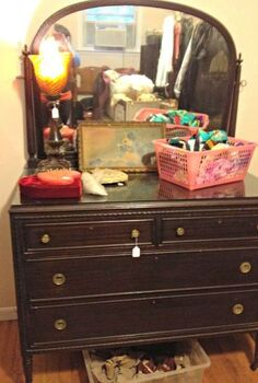 chippy milk painted dresser, chalk paint, painted furniture
