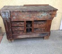 q need ideas for repurposing this old work potting bench, diy, how to, painted furniture, repurposing upcycling
