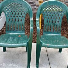 painted plastic chairs mini deck makeover, decks, outdoor furniture, painted furniture
