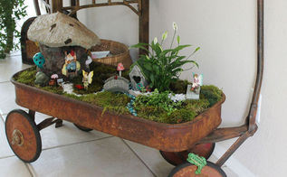 fairy garden concrete leaf roof, flowers, gardening, succulents
