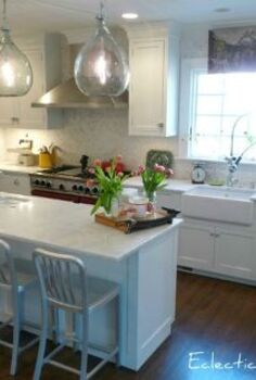 100 year old kitchen kitchen reno, home improvement, kitchen backsplash, kitchen design, White cabinets marble counters and herringbone marble backsplash