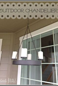 a little outdoor chandelier and the tortoise and the hare, lighting, outdoor living, patio, porches