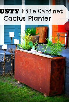 rusty file cabinet cactus planter, flowers, gardening, repurposing upcycling, succulents
