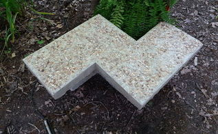 chevron inspired concrete garden bench, concrete masonry, gardening, outdoor furniture, outdoor living, painted furniture
