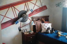 boys rooms, bedroom ideas, home decor, painting, A ceiling fan was mounted on this wall for a fun 3 D look The blades spin manually