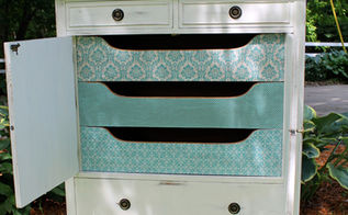 antique armoire makeover, painted furniture, reupholster