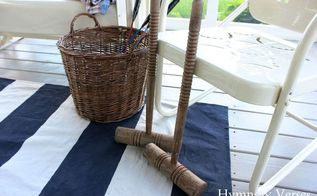 diy drop cloth rugby stripe rug, crafts, outdoor furniture, outdoor living, porches, reupholster