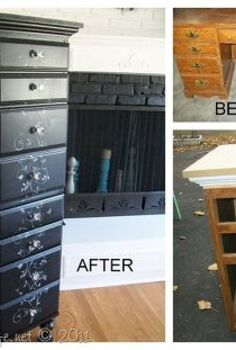 repurposed desk into chest, home decor, painted furniture, repurposing upcycling, This picture shows the before during and after