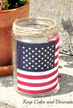 easy patriotic luminaries, crafts, decoupage, patriotic decor ideas, seasonal holiday decor