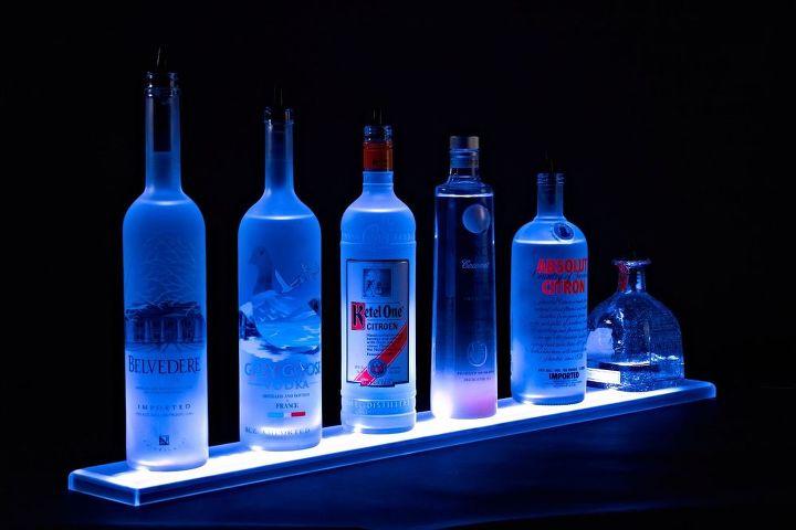 Home Bar Lighting  2 LED Lighted Liquor Bottle Display Shelf