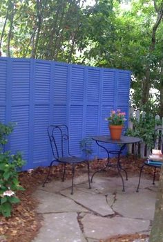 repurposed shutter fence, fences, outdoor furniture, outdoor living
