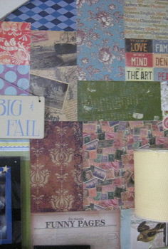 patchwork wall, crafts, decoupage, home decor, wall decor, Patchwork wall with various collected papers Love2Repurpose