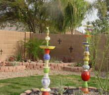 polatems pots plates totems birdbaths bird feeders and planters, outdoor living, pets animals, Polatems Pots plates totems My husband always says What will she think of next