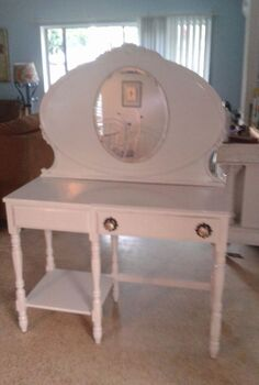 vanity vintage redo headboard desk, painted furniture, repurposing upcycling