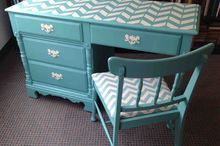 desk chair chevron painted vintage, painted furniture