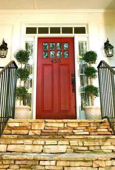 front door update, doors, Front Door Update Red paint iron numbers and topiaries say Come on in