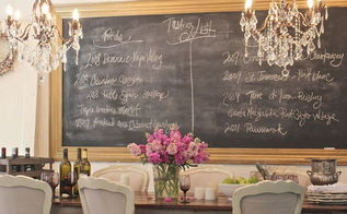 double chandeliers with double the bling and a big chalkboard help create a, chalkboard paint, crafts, lighting