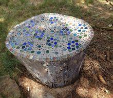gardening mosaic stump outdoor decor craft, crafts, gardening