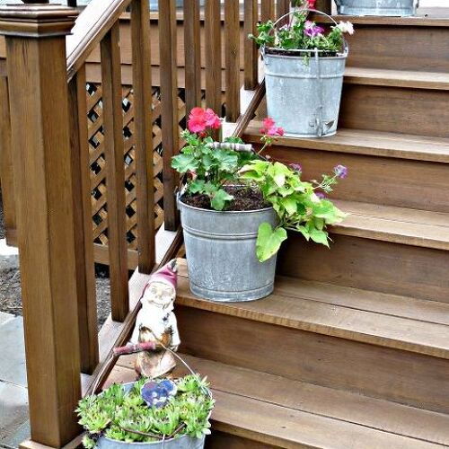 Mop Bucket Planters in a Row. Click link for more pics http://eclecticallyvintage.com/2012/06/mop-bucket-planters/