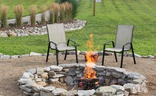 backyard ideas fire pit stone budget, concrete masonry, landscape, outdoor living, The Completed Fire Pit