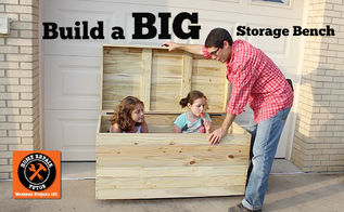 woodworking storage bench outdoor build, diy, outdoor furniture, woodworking projects