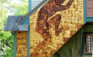 using cedar siding for a pictorial mural, curb appeal, doors, outdoor living, woodworking projects, The Giant at the Back Door with siding sampler
