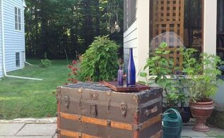 steamer trunk coffee table, painted furniture, repurposing upcycling