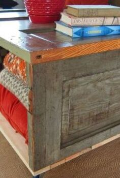 salvaged door coffee table storage bench, repurposing upcycling