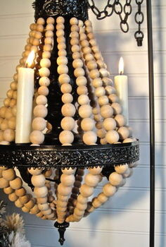 wood ball chandelier, crafts, lighting, Here s a close up now sitting in the dining room Next I might hang it from the ceiling