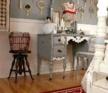 guest bedroom redecorated, bedroom ideas, home decor, Vanity and wall of hand mirrors