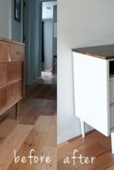 revamping a mid century modern chest of drawers into a media center, home decor, kitchen cabinets, shelving ideas, 15 mid century modern dresser turned into a media center