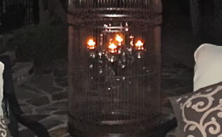 birdcage chandelier, lighting, outdoor living, repurposing upcycling, All a glow